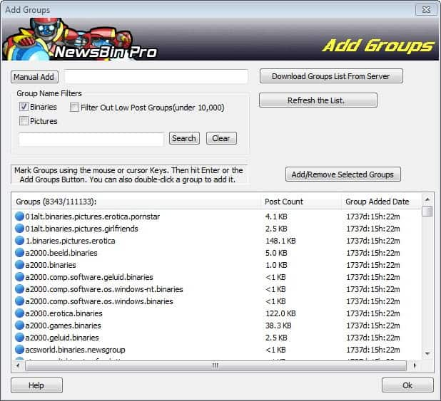 add groups usenet