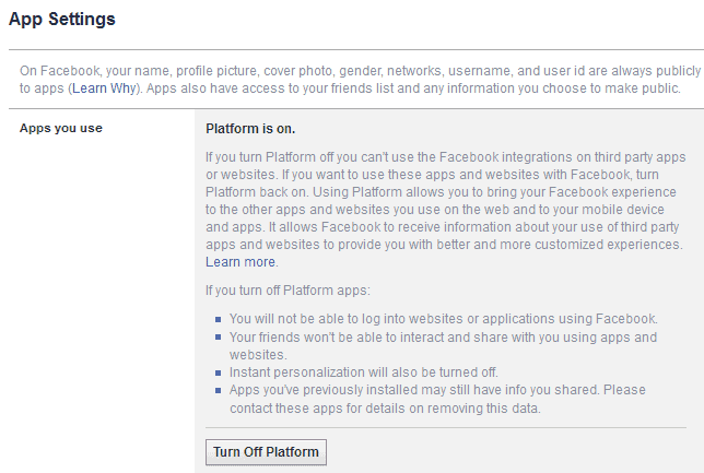apps you use turn off platform