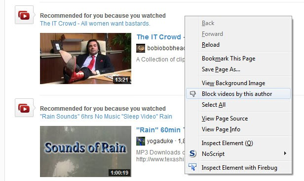 block youtube video recommendations