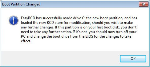 boot partition changed