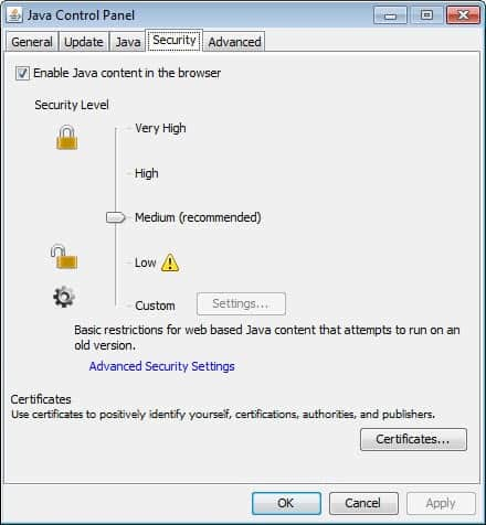 java disable content in browser