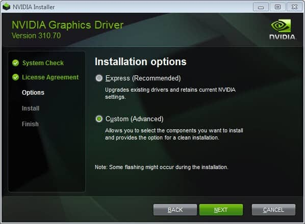 Make sure you only install Nvidia drivers you need - gHacks