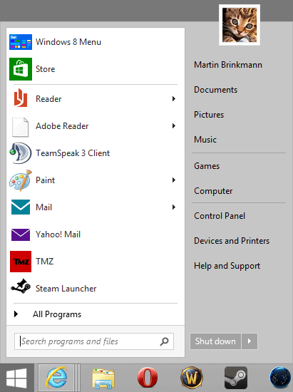 Windows 8 start menu programs are downloaded in record numbers