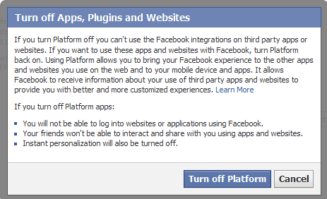 turn off apps plugins websites