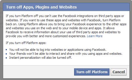 turn off apps plugins websites