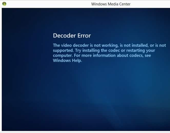 windows media center error dvd play