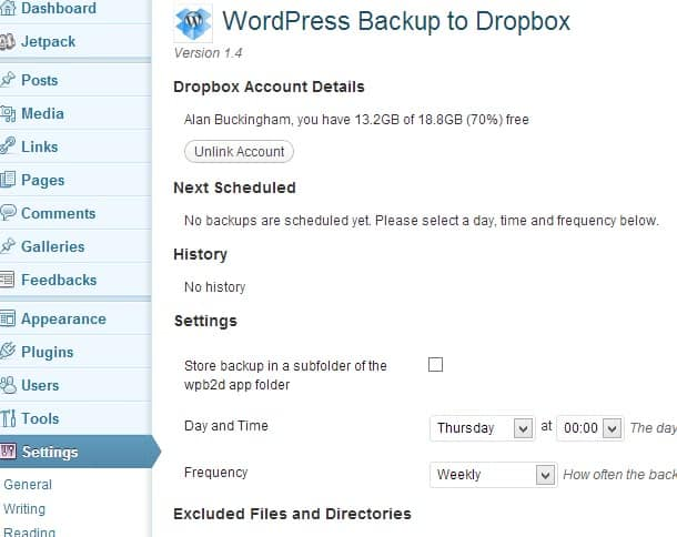 wordpress to dropbox backup