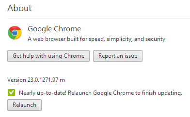 chrome update page