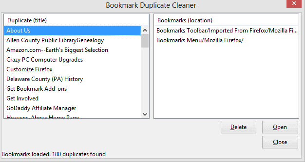 firefox bookmark duplicate cleaner