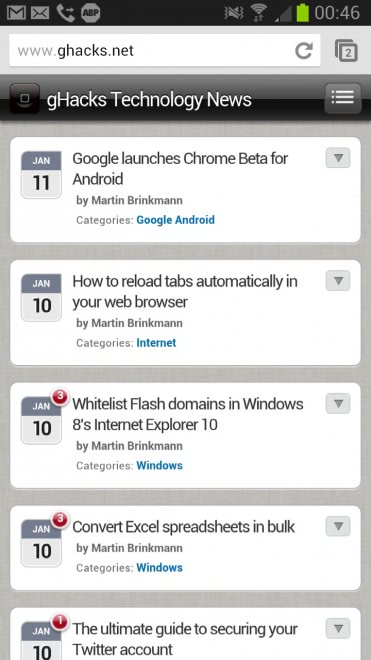 google chrome beta android