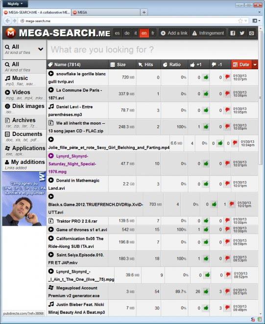 mega search engine screenshot