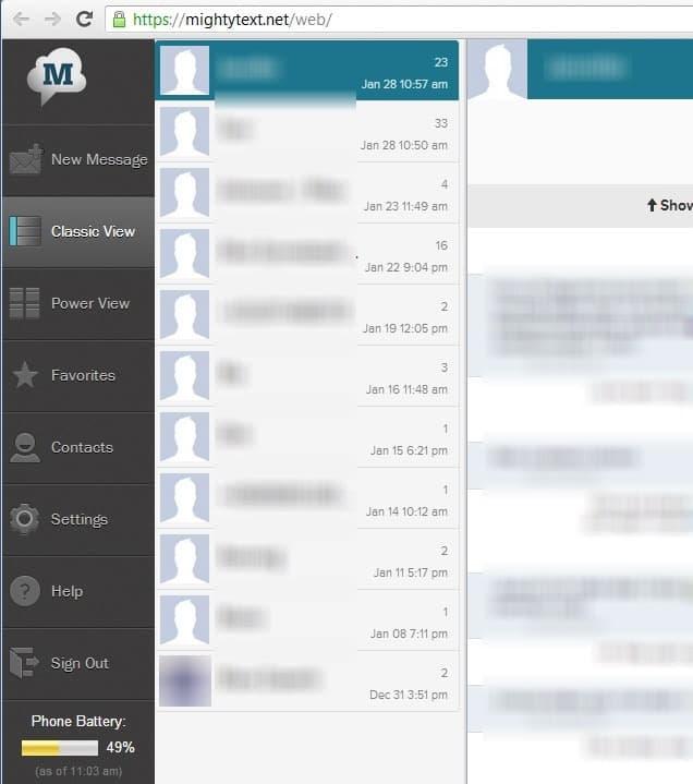 mighytext sms receive send desktop screenshot