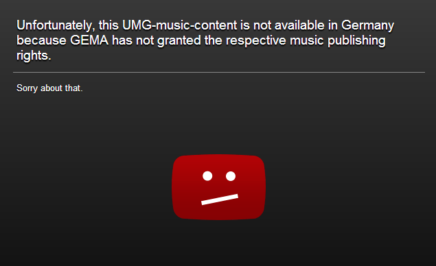 unfortunately music content not available youtube screenshot