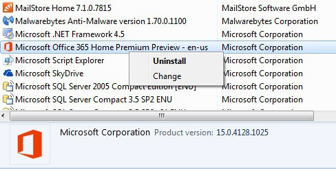 uninstall microsoft office2013 365