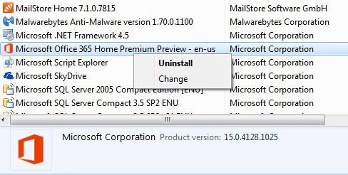 uninstall microsoft office2013 365