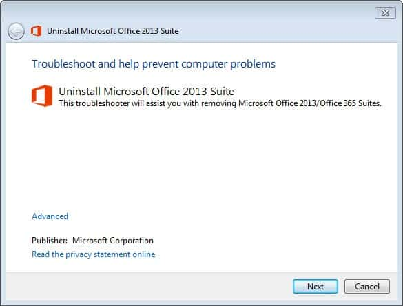 ms office 2013 will not install