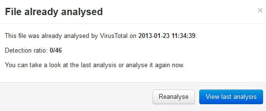 virustotal file already analysed