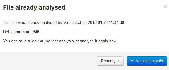 virustotal file already analysed