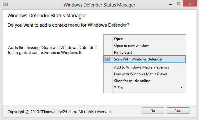 windows defender status manager setup