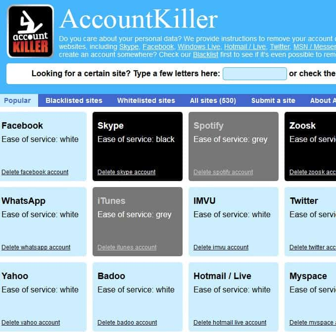 accountkiller screenshot