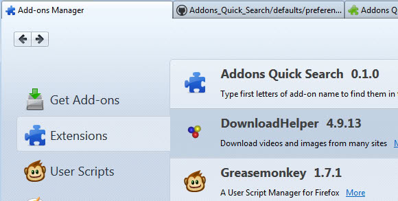 addons quick search screenshot