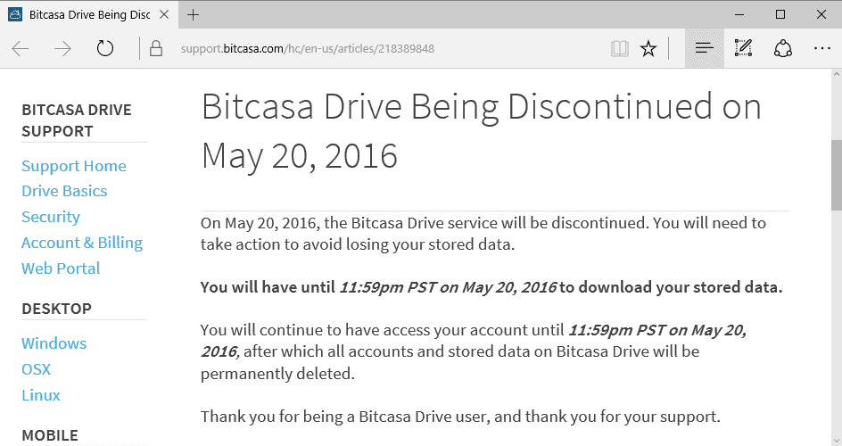 bitcasa shutdown