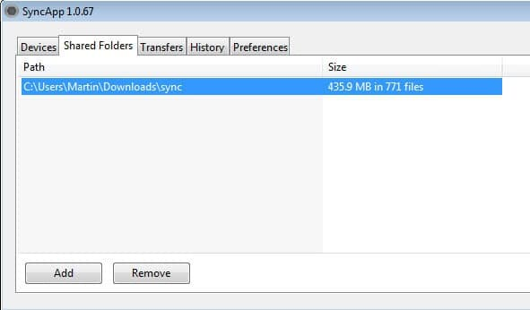 bittorrent sync screenshot