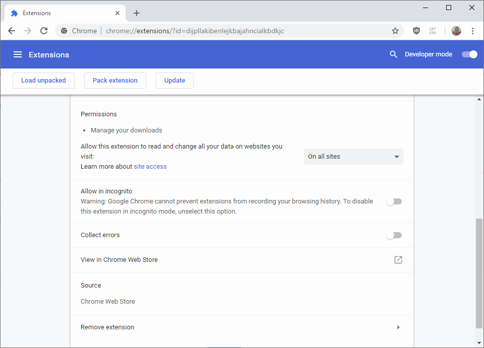 chrome extension permissions