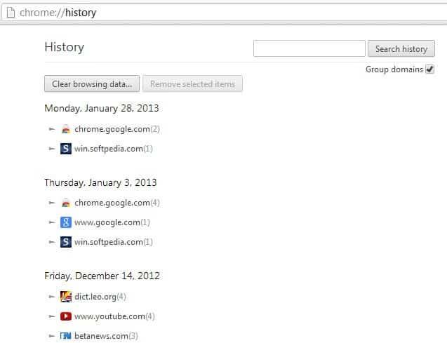 chrome history group domains screenshot