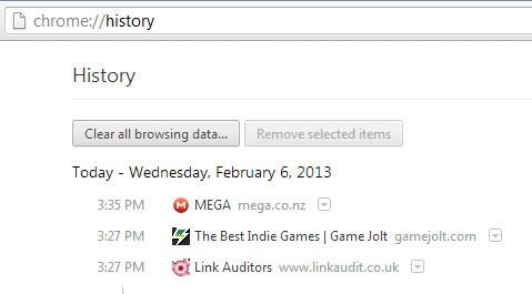chrome history screenshot