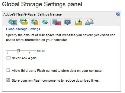 Disable Third-Party Flash cookies that track you on the Internet