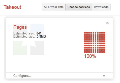 google+ pages takeout screenshot