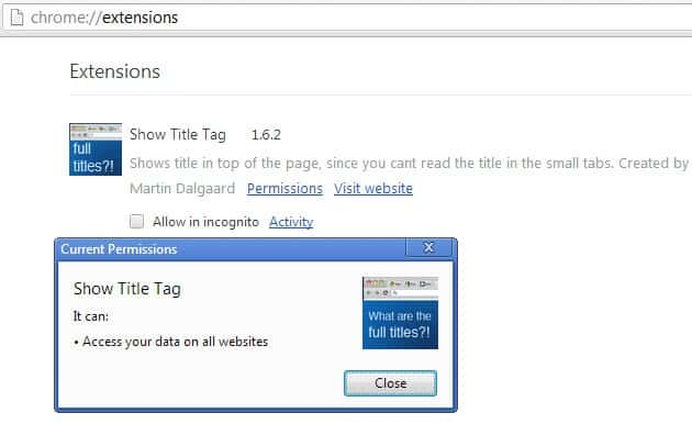 google chrome extension permissions screenshot