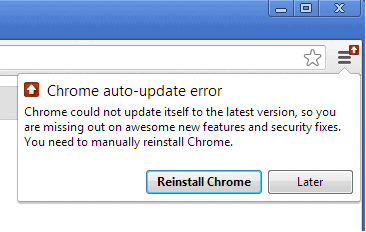 google chrome auto-update error screenshot