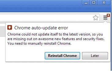 google chrome auto-update error screenshot