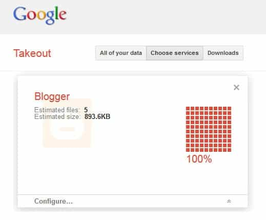 google takeout blogger