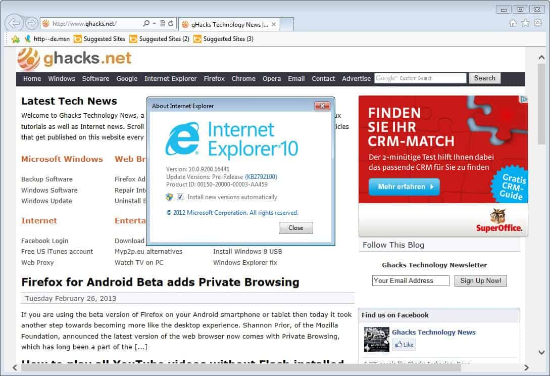 internet explorer 10 screenshot. Please note that you may need to reboot  your system before all functionality becomes available.