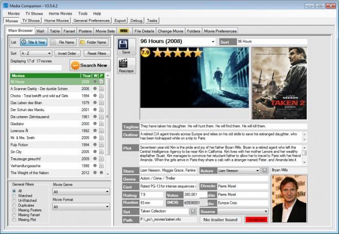 movie tv management software screenshot