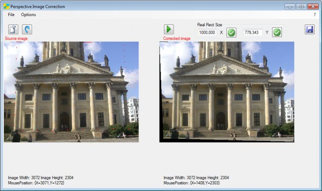 perspective image correction screenshot