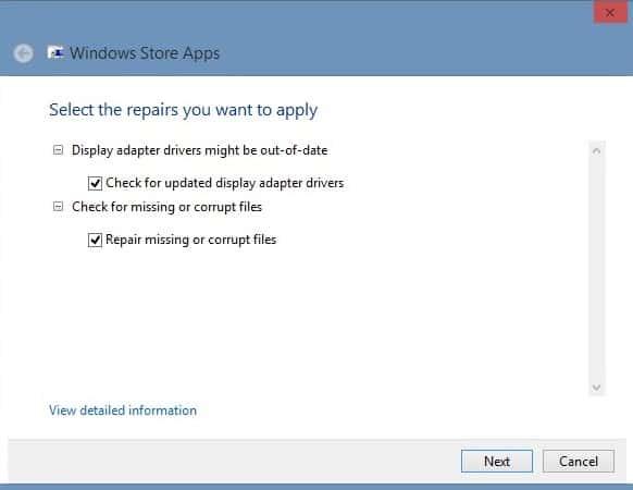 repair windows 8 apps screenshot