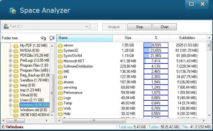 space analyzer screenshot