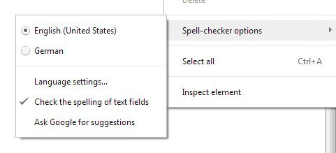 spell-checker options screenshot