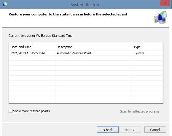 system restore screenshot
