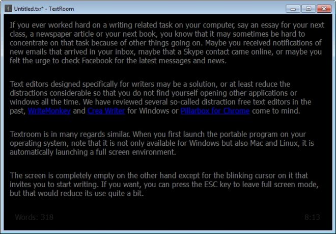 textroom text editor for writers screenshot