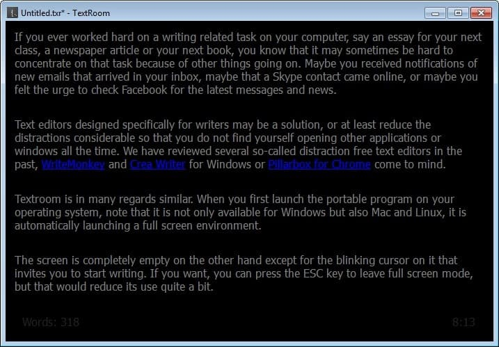 TextRoom: A text editor for writers - gHacks Tech News