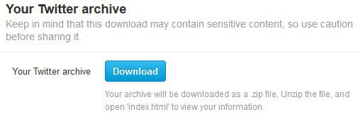 twitter archive download screenshot