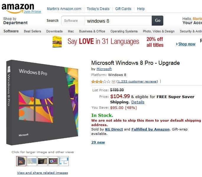 windows 8 pro upgrade discount screenshot