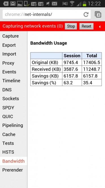 chrome bandwidth usage data