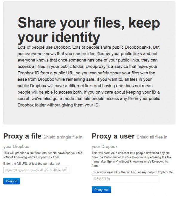 Dropproxy: hide your username from public links you share - gHacks