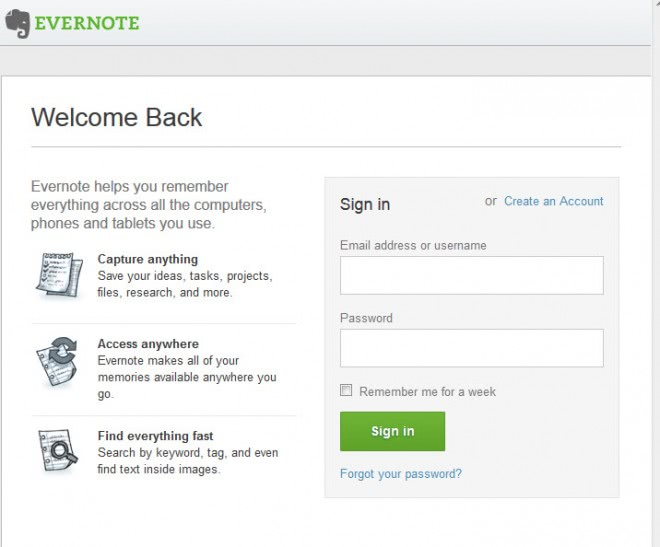 evernote login screenshot